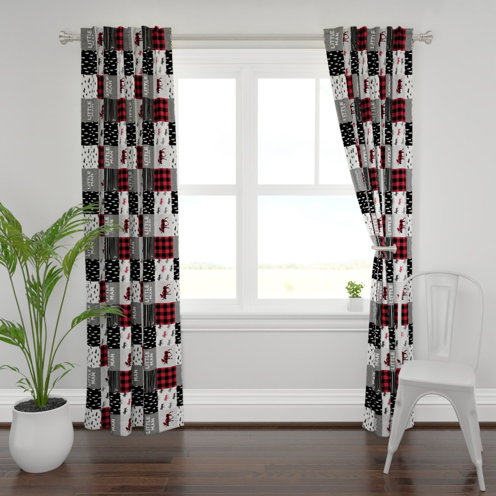 Plymouth Curtain Panel featuring little man patchwork quilt top (90) || buffalo plaid  by littlearrowdesign
