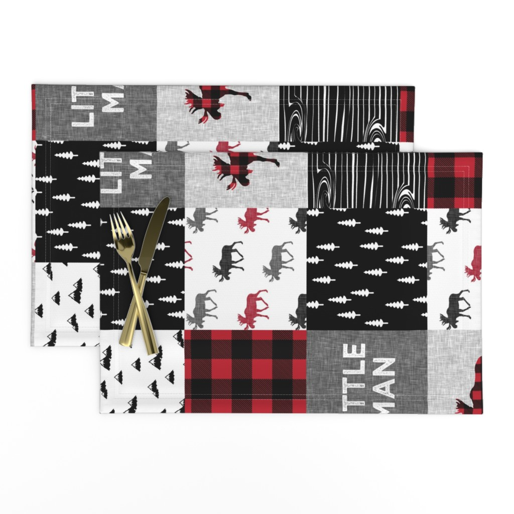 Lamona Cloth Placemats featuring little man patchwork quilt top (90)    buffalo plaid  by littlearrowdesign