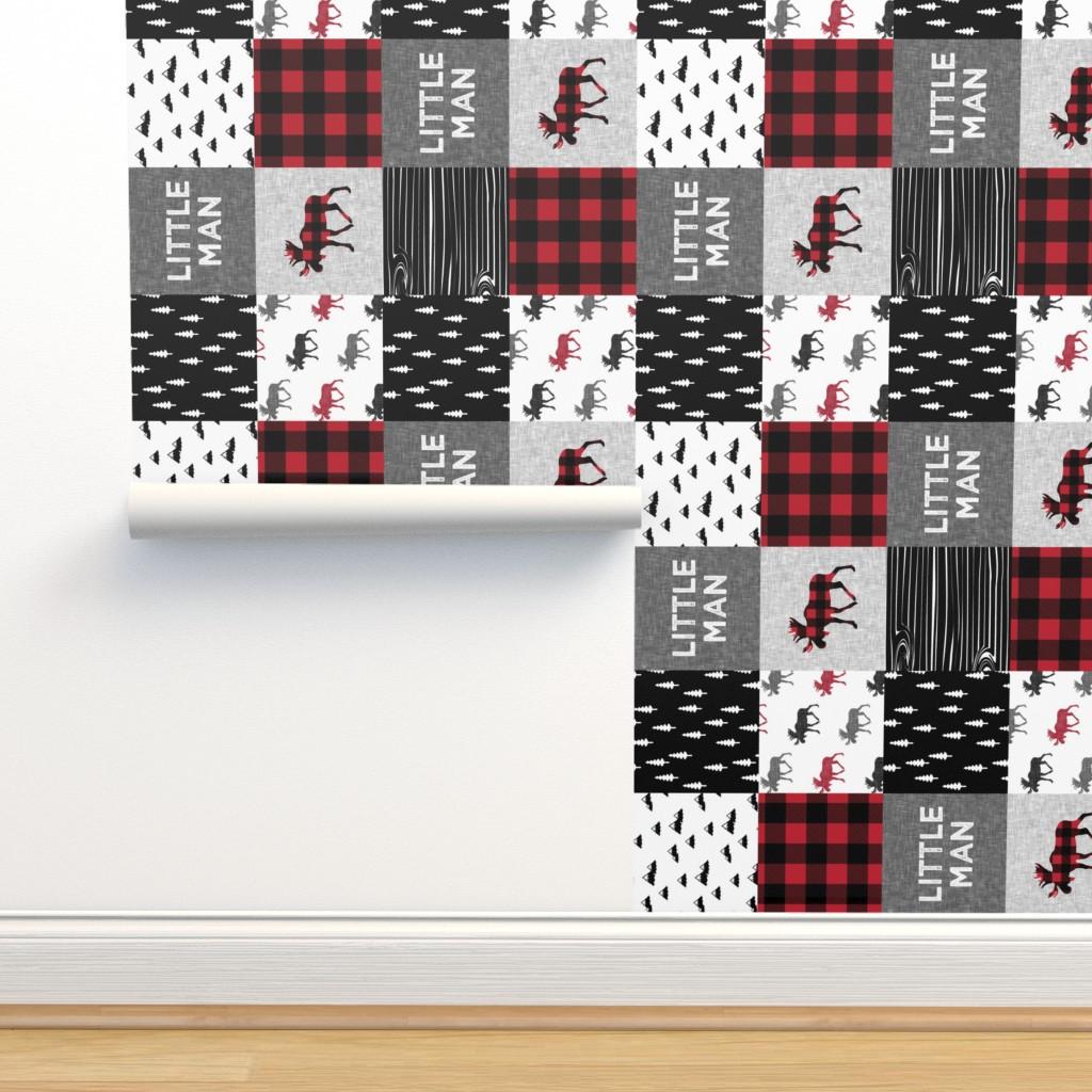 Isobar Durable Wallpaper featuring little man patchwork quilt top (90) || buffalo plaid  by littlearrowdesign