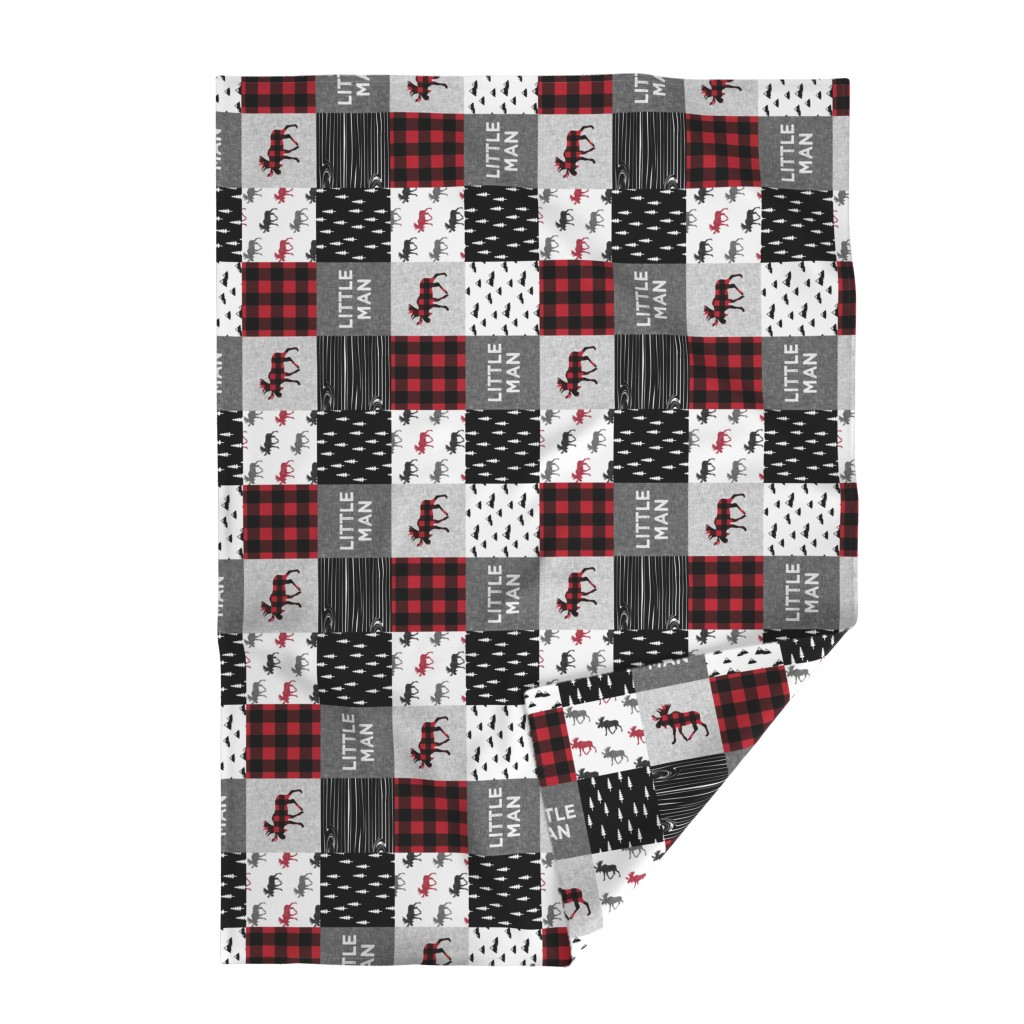 Lakenvelder Throw Blanket featuring little man patchwork quilt top (90) || buffalo plaid  by littlearrowdesign