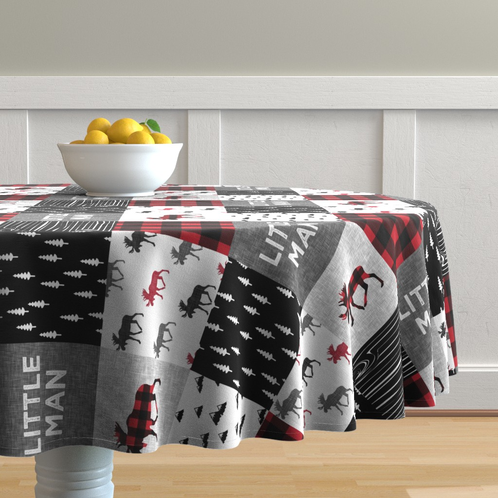 Malay Round Tablecloth featuring little man patchwork quilt top (90) || buffalo plaid  by littlearrowdesign