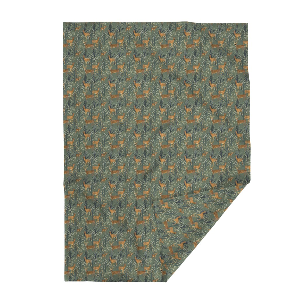 Lakenvelder Throw Blanket featuring Deer in Snowy Forest by susan_polston