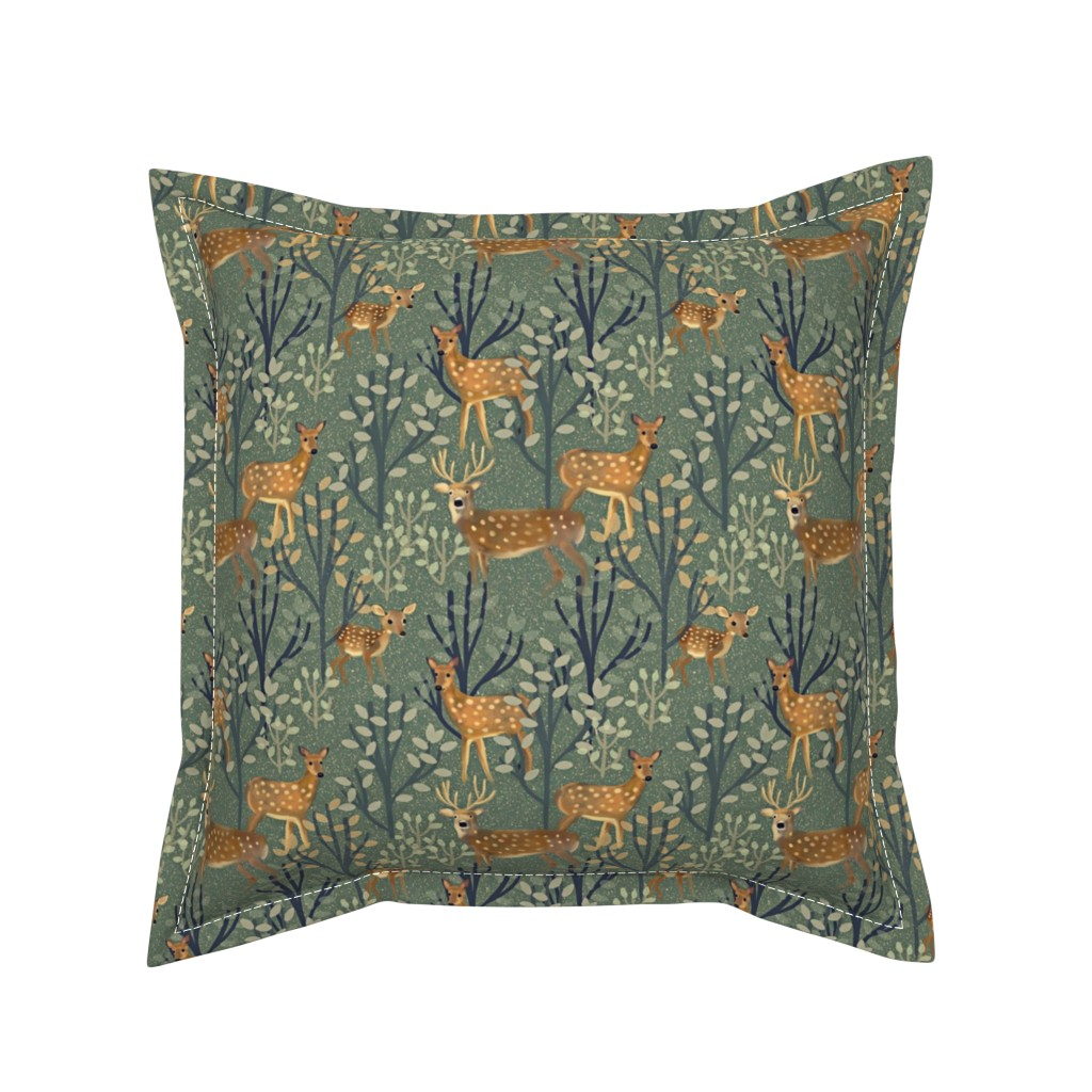Serama Throw Pillow featuring Deer in Snowy Forest by susan_polston