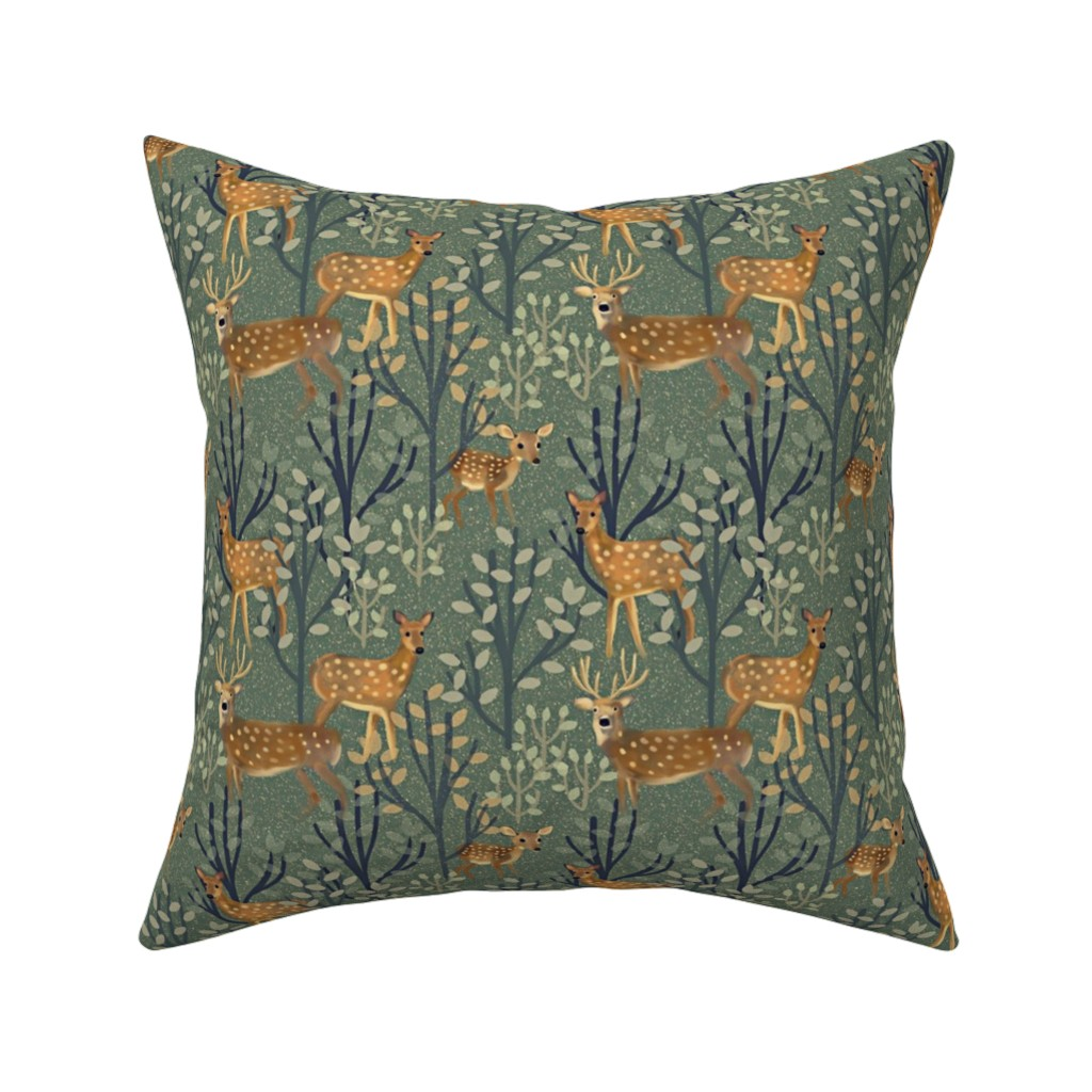 Catalan Throw Pillow featuring Deer in Snowy Forest by susan_polston