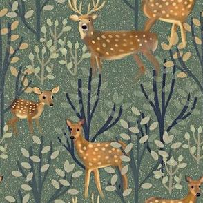 Deer in Snowy Forest