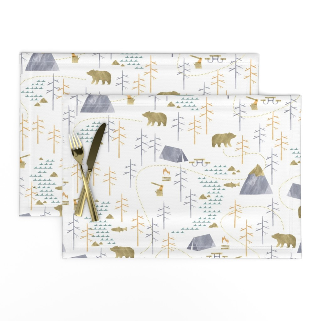 Lamona Cloth Placemats featuring In the Woods - Large Scale by papercanoefabricshop