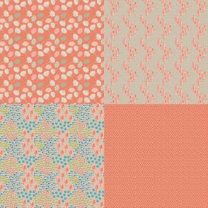 "16-06a Folk Floral Peach 54"" Fat Quarters_Miss Chiff Designs"