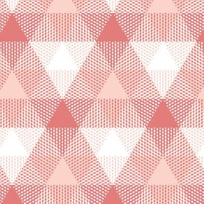 triangle gingham - coral, pink and white