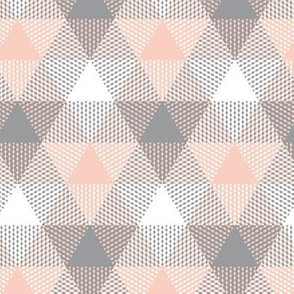triangle gingham - grey, peach and white