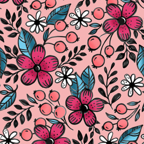 Pink and peach flowers -  Large scale