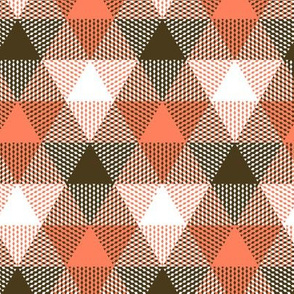 triangle gingham - coral, bronze, white