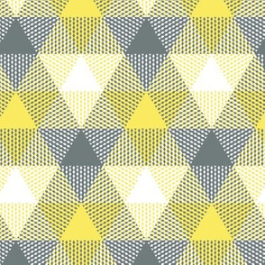 triangle gingham - yellow, grey and white
