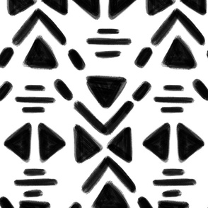 Triangles and lines - White and Black 6 inch repeat