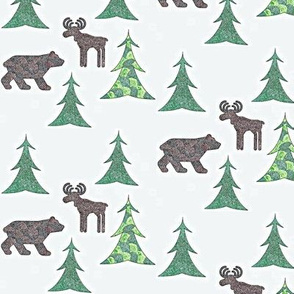 Moosing around with bears on white
