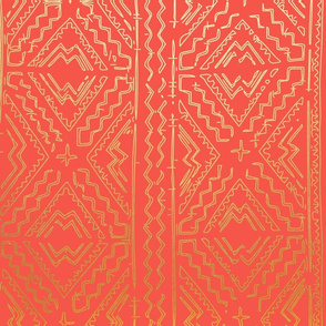 Coral Orange Clay Mudcloth Traditional African Mud cloth  with gold