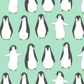 penguins // baby pingu cute mint baby penguins birds winter fabric mint birds design