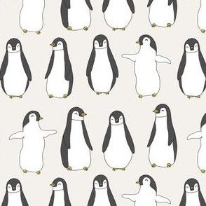 penguin // penguins pingu cute baby nursery off-white penguins fabric penguin fabric