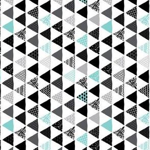 Geometric tribal aztec triangle blue modern patterns Rotated Small
