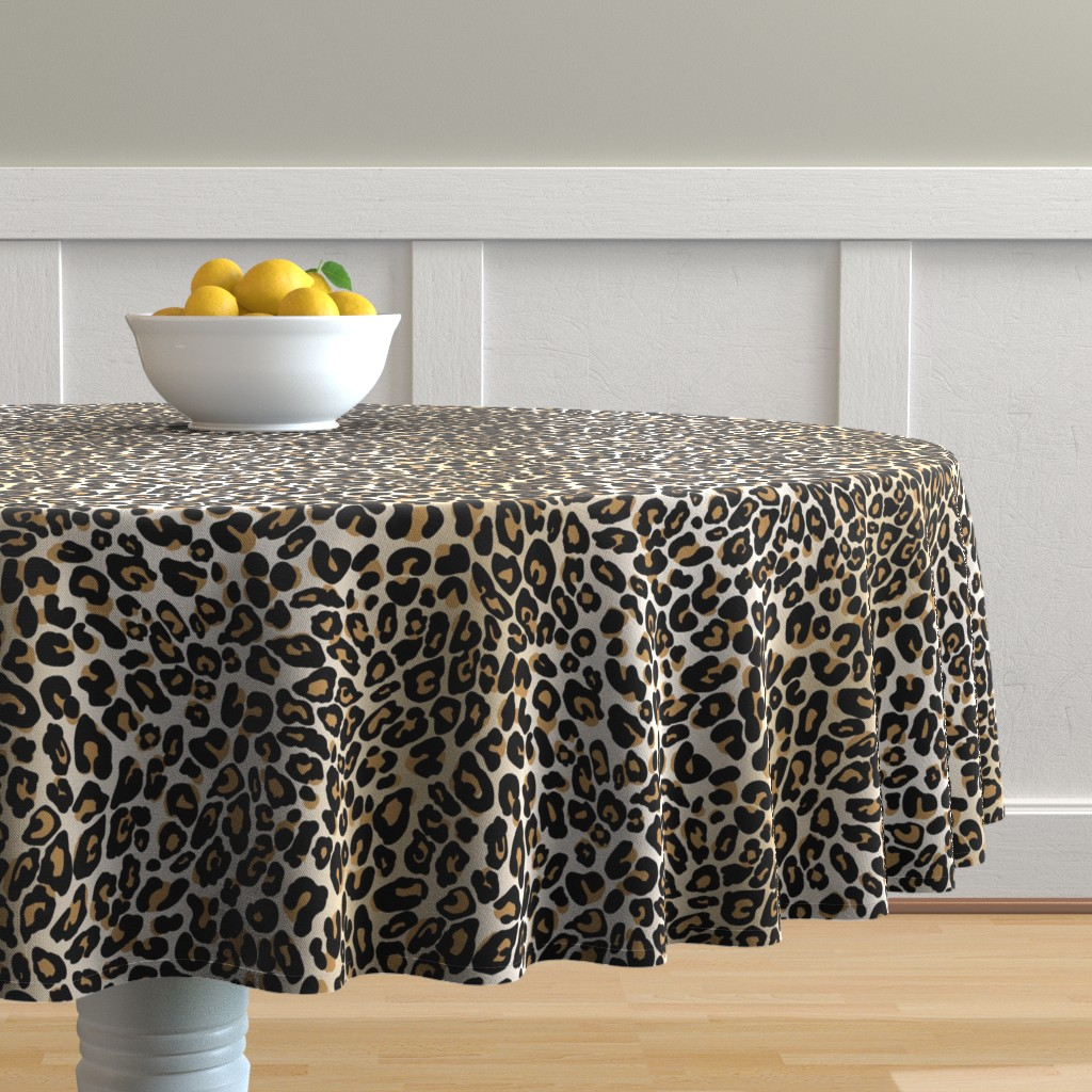 Malay Round Tablecloth featuring classic leopard by cinneworthington