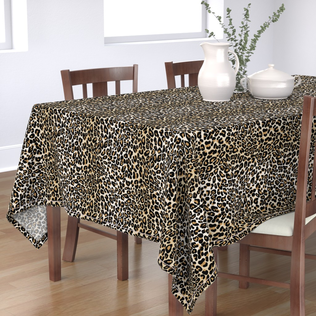 Bantam Rectangular Tablecloth featuring classic leopard by cinneworthington