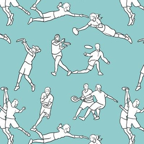 Ultimate Frisbee on Pale Blue