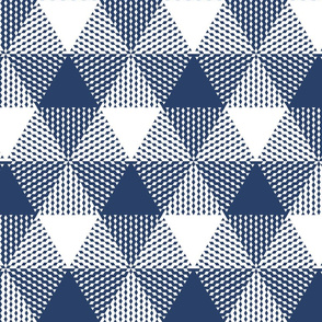 large triangle plaid - navy and white