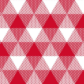 Christmas tree triangle plaid - red and white