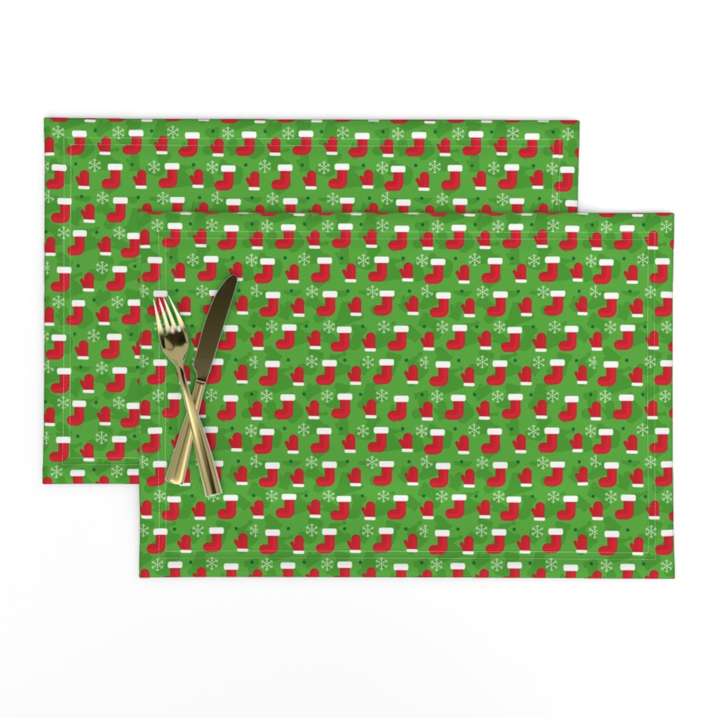 Lamona Cloth Placemats featuring Christmas Red Green White Xmas Gifts Socks and Mittens by furbuddy