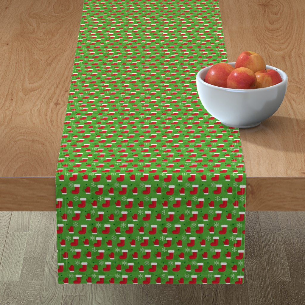 Minorca Table Runner featuring Christmas Red Green White Xmas Gifts Socks and Mittens by furbuddy