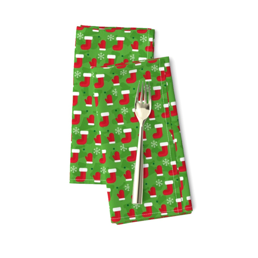 Amarela Dinner Napkins featuring Christmas Red Green White Xmas Gifts Socks and Mittens by furbuddy