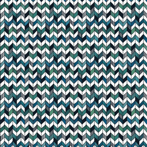 Small Painted Herringbone White, Turquoise, and Emerald