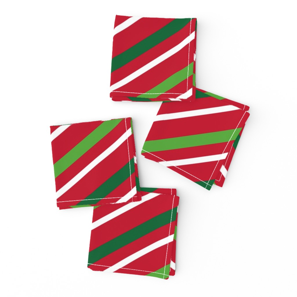 Frizzle Cocktail Napkins featuring  Christmas Stripes Red Green White by furbuddy