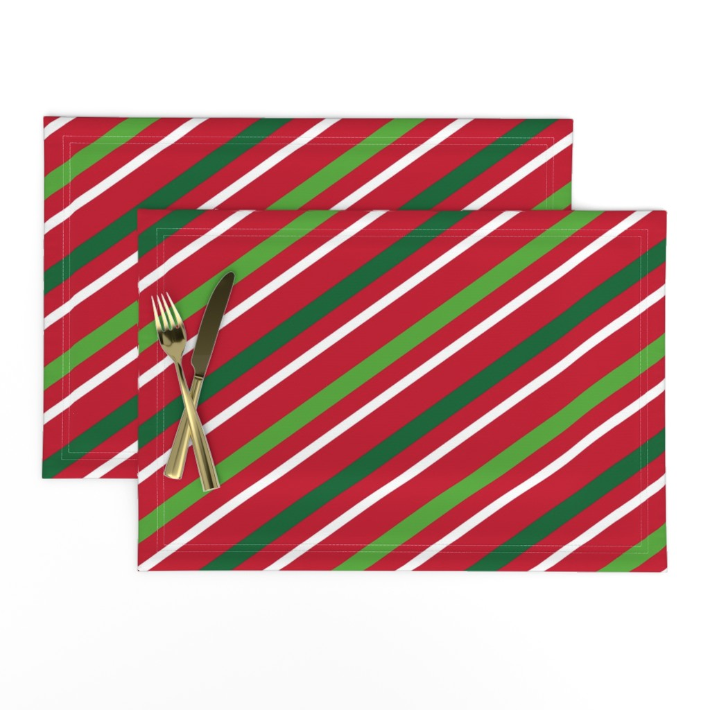 Lamona Cloth Placemats featuring  Christmas Stripes Red Green White by furbuddy