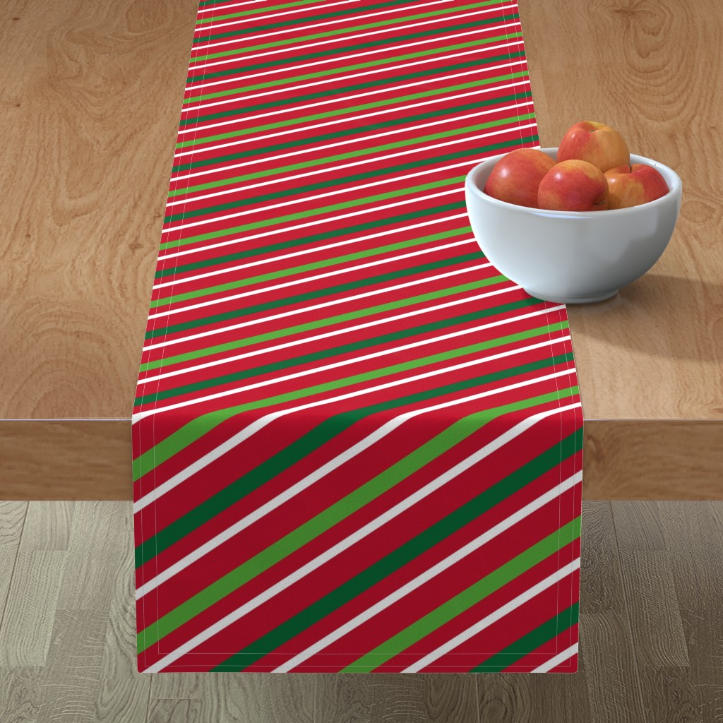 Minorca Table Runner featuring  Christmas Stripes Red Green White by furbuddy