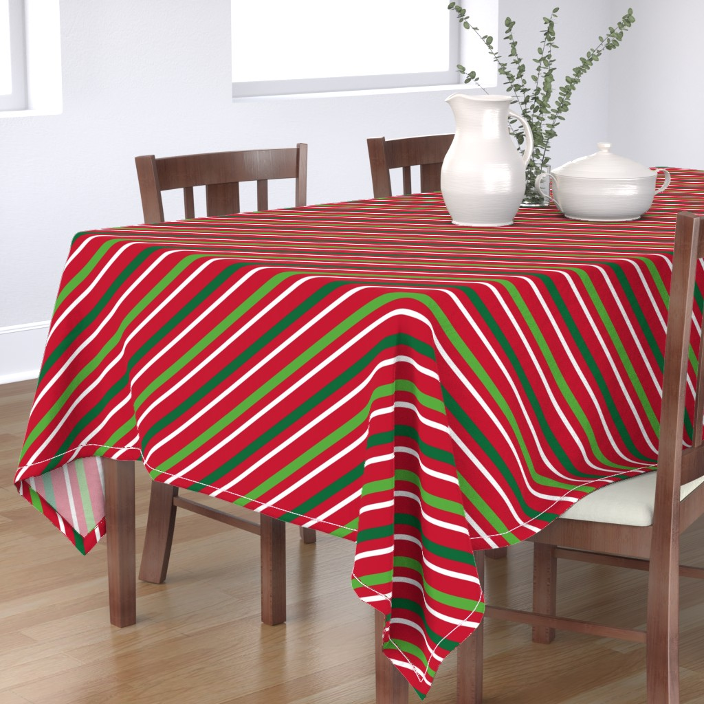 Bantam Rectangular Tablecloth featuring  Christmas Stripes Red Green White by furbuddy