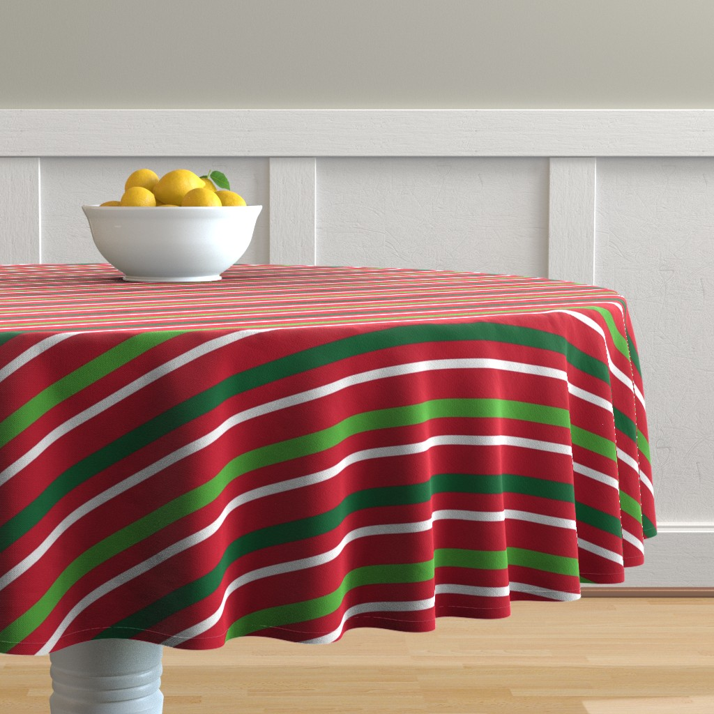 Malay Round Tablecloth featuring  Christmas Stripes Red Green White by furbuddy