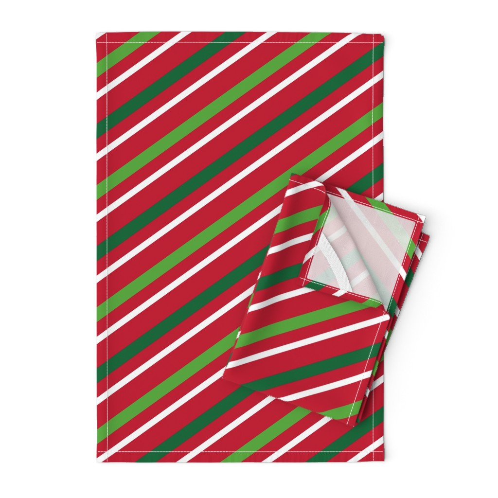 Orpington Tea Towels featuring  Christmas Stripes Red Green White by furbuddy