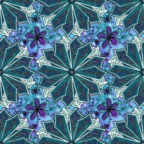 Project 195 | Teal Poinsettia on Teal and Purple Stars