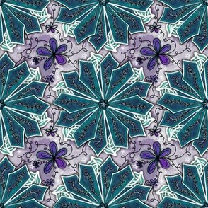 Project 195 | Teal Poinsettia on Violet Purple Stars