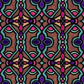 Project 180 | Stained Glass | Pink Teal Purple on Rust