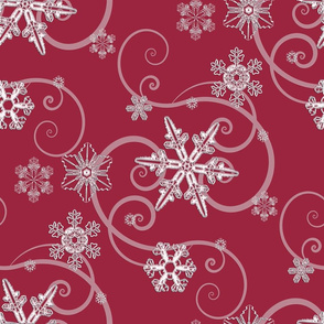 snowflakes Dark Red