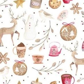 Cozy Snow Day White/ Winter Holidays Fabric/ Nostalgic Winter Day fabric