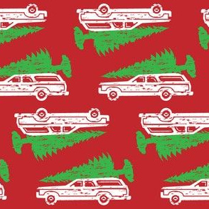 Griswold Family Christmas Station wagon with Tree GREEN and RED