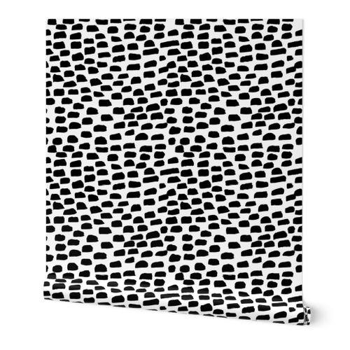 Black And White Brush Stroke Polka Dots Spoonflower