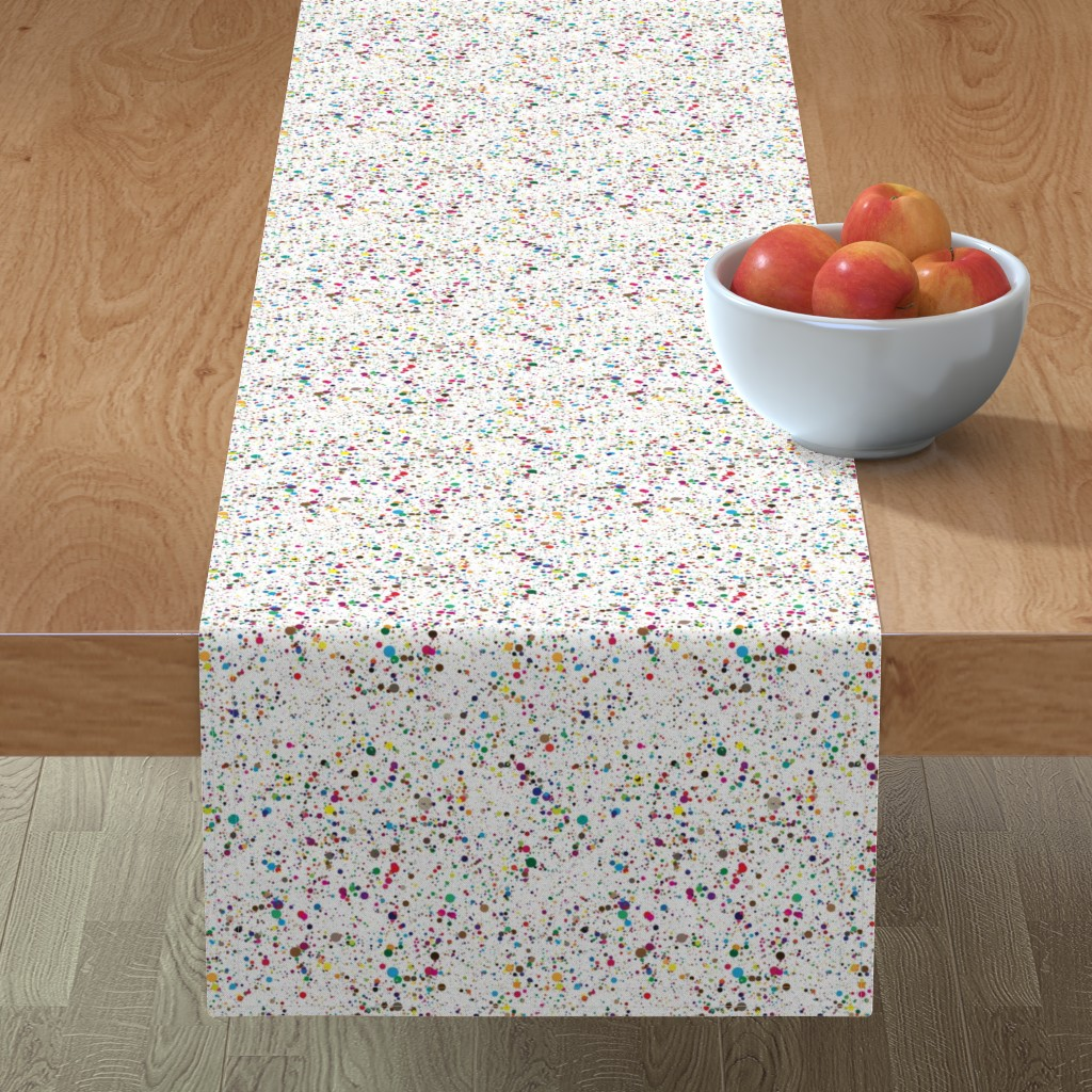 Minorca Table Runner featuring Paint Splatters Red Blue Black White Yellow Pink Teal Orange Green Gold Teal by furbuddy