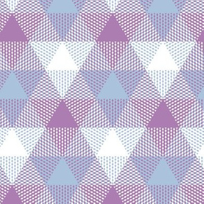 triangle gingham - lavender, baby blue, white
