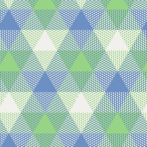 triangle gingham - light blue, light green, pearl grey