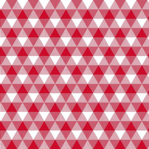 Christmas tree triangle gingham - red and white
