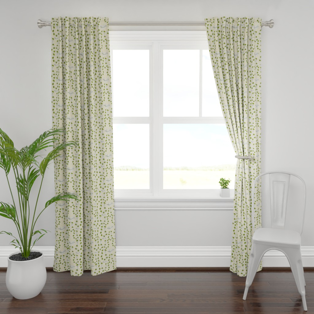 Plymouth Curtain Panel featuring Tropical Lei's Cream by salzanos