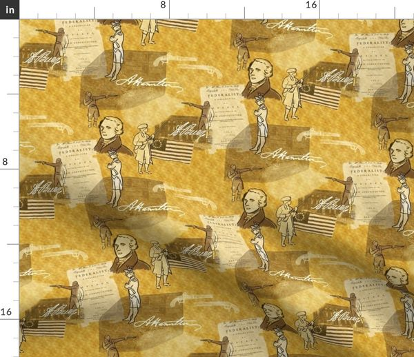 Fabric by the Yard Alexander Hamilton Bio on Gold